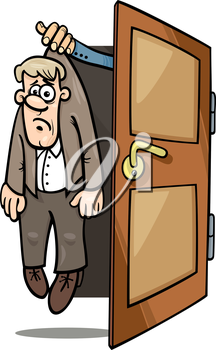 Royalty Free Clipart Image of a Man Being Thrown Out of a Door by a Hand