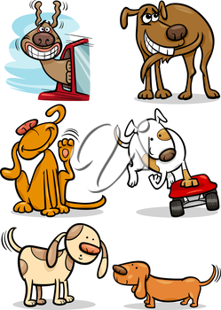 Cartoon Illustration of Funny Cute Dogs Set
