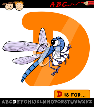 Cartoon Illustration of Capital Letter D from Alphabet with Dragonfly for Children Education
