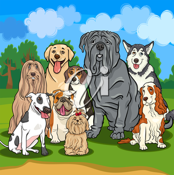 Cartoon Illustrations of Funny Purebred Dogs Characters Group