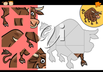 Cartoon Illustration of Education Jigsaw Puzzle Game for Preschool Children with Funny Bull Animal Character