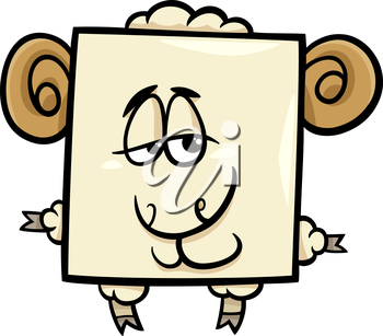 Cartoon Illustration of Funny Square Ram Character
