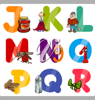 Cartoon Illustration of Funny Capital Letters Alphabet with Objects for Reading and Writing Education for Children from J to R