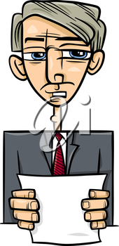 Cartoon Illustration of Man in Suit or Politician Giving a Speech