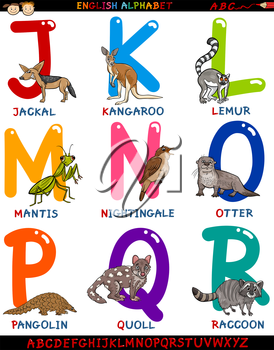 Cartoon Illustration of Colorful English Alphabet Set with Funny Animals from Letter J to R