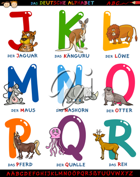 Cartoon Illustration of Colorful German or Deutsch Alphabet Set with Funny Animals from Letter J to R