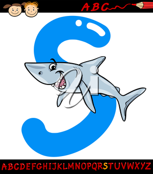 Cartoon Illustration of Capital Letter S from Alphabet with Shark Fish Animal for Children Education
