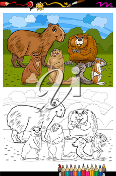 Coloring Book or Page Cartoon Illustration of Black and White Funny Rodents Mammals Animals Mascot Characters Group for Children