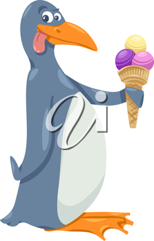Cartoon Illustration of Funny Penguin with Ice Cream