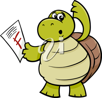 Cartoon Illustration of Funny Turtle Animal Character with F mark on a Test