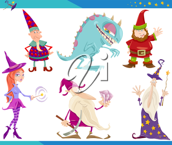 Cartoon Illustrations Set of Fairytale or Fantasy Characters