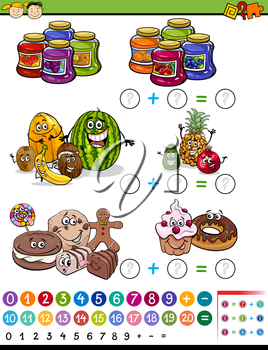 Cartoon Illustration of Education Mathematical Algebra Game for Preschool Children with Fruits and Sweets