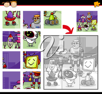 Cartoon Illustration of Education Jigsaw Puzzle Game for Preschool Children with Robots Characters Group