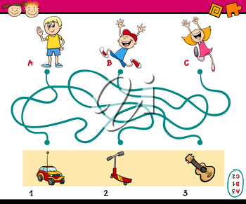 Cartoon Illustration of Education Paths or Maze Puzzle Task for Preschoolers with Children and Toys
