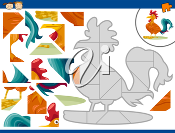 Cartoon Illustration of Educational Jigsaw Puzzle Task for Preschool Children with Farm Rooster Animal Character