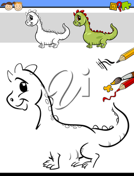 Cartoon Illustration of Drawing and Coloring Educational Task for Preschool Children with Dragon Fantasy Character