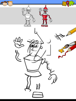 Cartoon Illustration of Drawing and Coloring Educational Task for Preschool Children with Robot Fantasy Character