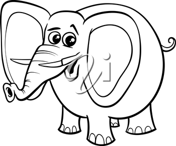 Black and White Cartoon Illustration of African Elephant Animal Character for Coloring Book