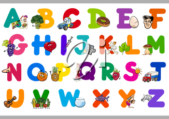 Cartoon Illustration of Capital Letters Alphabet Set for Reading and Writing Education