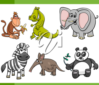 Cartoon Illustration of Wild Animal Characters Set