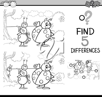 Black and White Cartoon Illustration of Finding Differences Educational Task for Preschool Children with Ant and Ladybug Insect Characters for Coloring Book