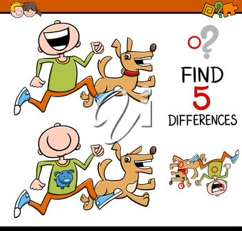 Cartoon Illustration of Finding Differences Educational Activity for Preschool Children with Boy and his Dog
