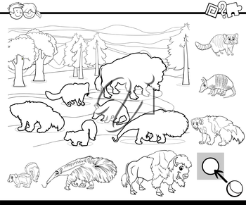 Black and White Cartoon Illustration of Educational Activity Task for Preschool Children with Wild Animal Characters for Coloring Book