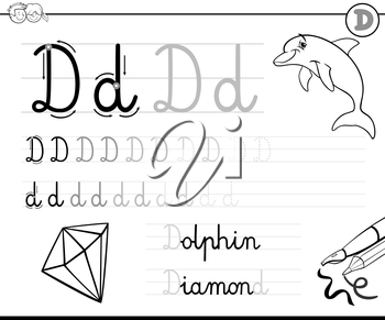 Black and White Cartoon Illustration of Writing Skills Practise with Letter D Worksheet for Children Coloring Book