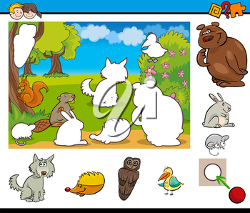 Cartoon Illustration of Educational Activity Task for Preschool Children with Wild Animal Characters