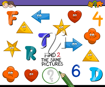 Cartoon Illustration of Find Identical Pictures Educational Activity for Preschool Children