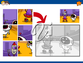 Cartoon Illustration of Educational Jigsaw Puzzle Activity for Preschool Children with Robot Fantasy Characters