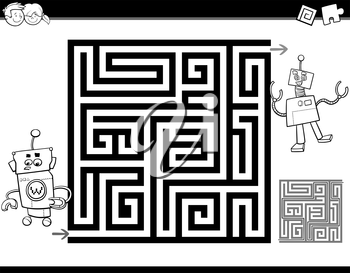 Black and White Cartoon Illustration of Education Maze or Labyrinth Activity Task for Children with Funny Robots for Coloring