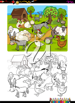Cartoon Illustration of Funny Farm Animal Characters Coloring Book