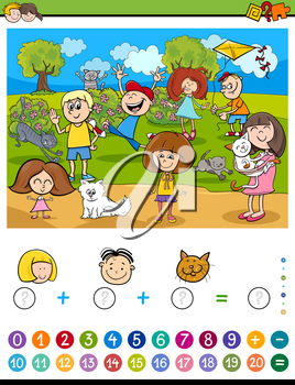 Cartoon Illustration of Educational Mathematical Counting and Addition Activity Task for Children with Kids and Cats
