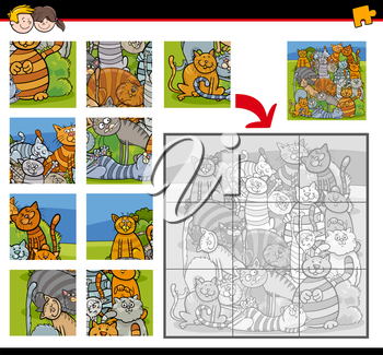 Cartoon Illustration of Education Jigsaw Puzzle Activity Task for Children with Cats Animal Characters