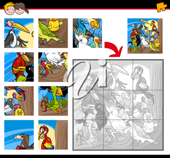 Cartoon Illustration of Education Jigsaw Puzzle Activity Game for Children with Bird  Animal Characters