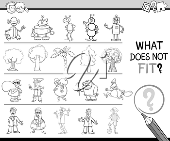 Black and White Cartoon Illustration of Finding Improper Item in the Row Educational Activity for Children Coloring Book