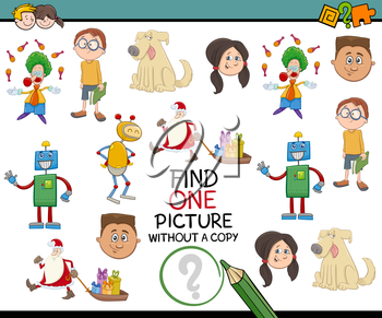 Cartoon Illustration of Educational Activity of Picture without Pair Search for Children