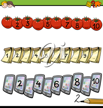Cartoon Illustration of Educational Mathematical Activity for Children with Count to Ten Lesson