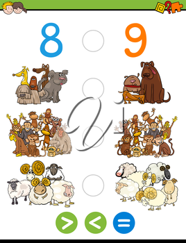Cartoon Illustration of Educational Mathematical Activity Game of Greater Than, Less Than or Equal to for Children with Animal Characters