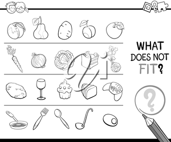 Black and White Cartoon Illustration of Finding Improper Image in the Row Educational Activity for Children with Food Objects Coloring Page