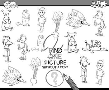 Black and White Cartoon Illustration of Educational Activity of Finding Single Picture for Children Coloring Page