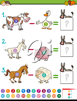 Cartoon Illustration of Educational Mathematical Subtraction Activity for Children with Farm Animal Characters