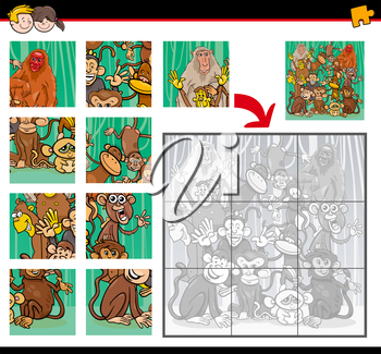 Cartoon Illustration of Education Jigsaw Puzzle Activity for Children with Monkeys Animal Characters
