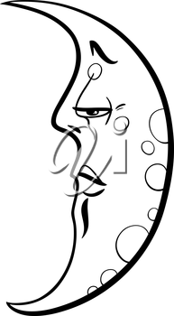 Black and White Cartoon Illustration of Half Moon Fantasy Character Coloring Page