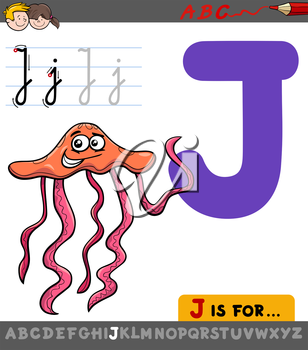 Educational Cartoon Illustration of Letter J from Alphabet with Jellyfish Animal for Children