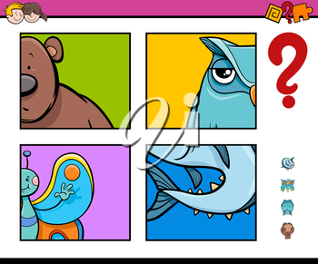 Cartoon Illustration of Educational Game of Guessing Animals for Preschool Kids