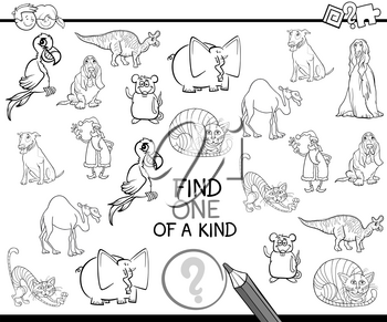 Black and White Cartoon Illustration of Educational Activity of Finding One of a Kind for Preschool Children Coloring Page
