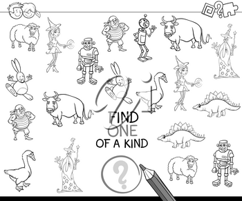 Black and White Cartoon Illustration of Educational Activity of Find One of a Kind Game for Preschool Children Coloring Page