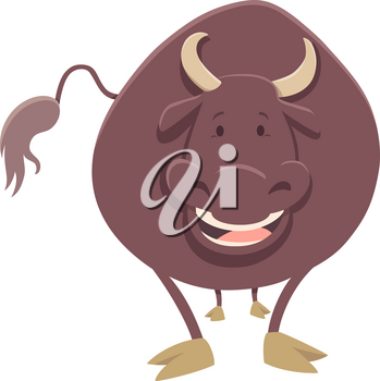 Cartoon Illustration of Bull Farm Animal Character